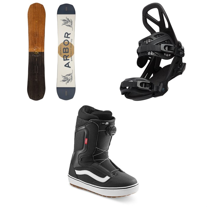 Arbor - Element Camber Snowboard + Hemlock Snowboard Bindings + Vans Aura OG Snowboard Boots 2022