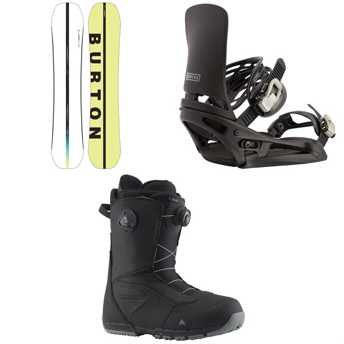 Burton - Custom Flying V Snowboard + Cartel EST Snowboard Bindings + Ruler Boa Snowboard Boots 2022