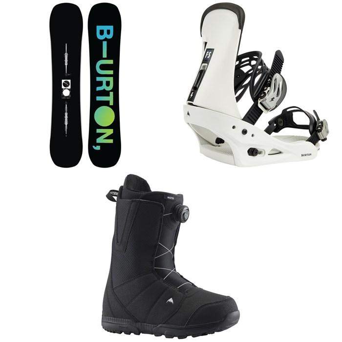 Burton - Instigator Flat Top Snowboard + Freestyle Snowboard Bindings + Moto Boa Snowboard Boots 2022
