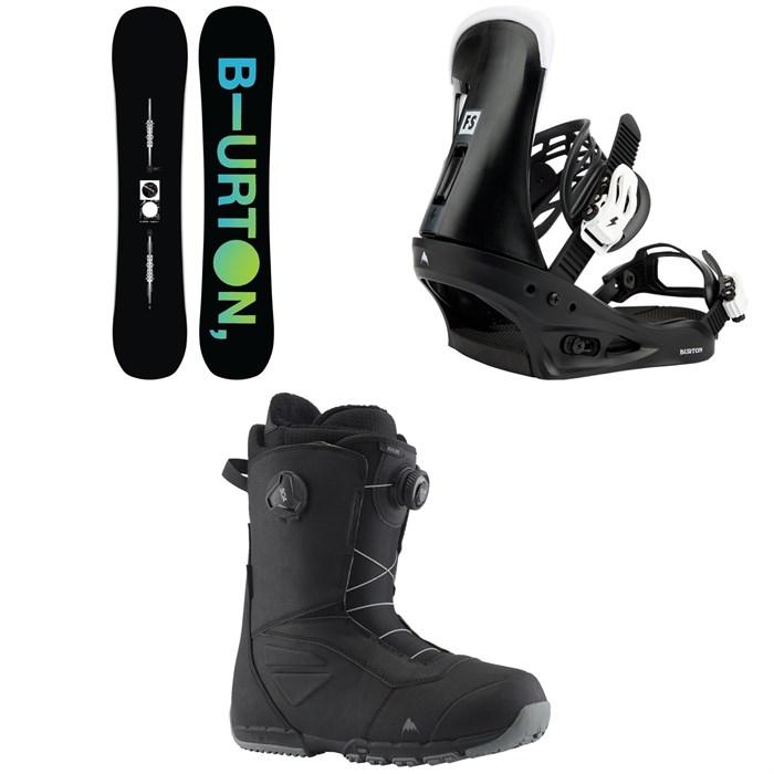 Burton - Instigator Flat Top Snowboard + Freestyle Snowboard Bindings + Ruler Boa Snowboard Boots 2022