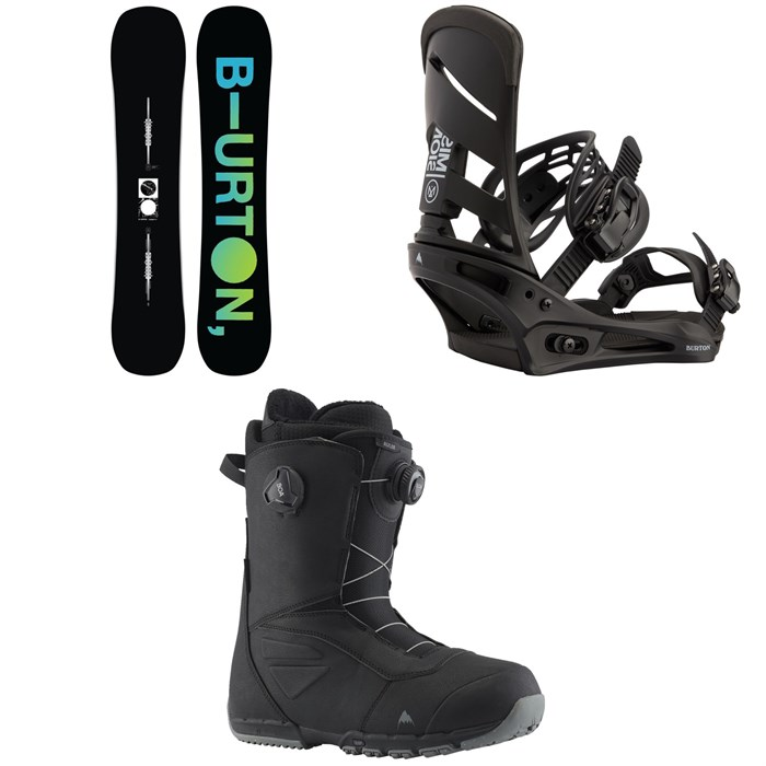 Burton - Instigator Flat Top Snowboard + Mission Snowboard Bindings + Ruler Boa Snowboard Boots 2022