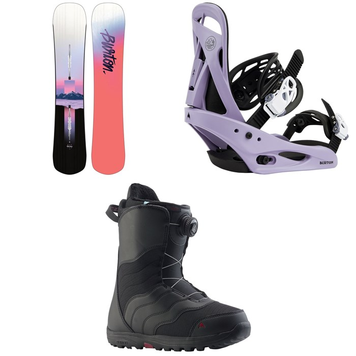 Burton - Hideaway Snowboard + Citizen Snowboard Bindings + Mint Boa Snowboard Boots - Women's 2020