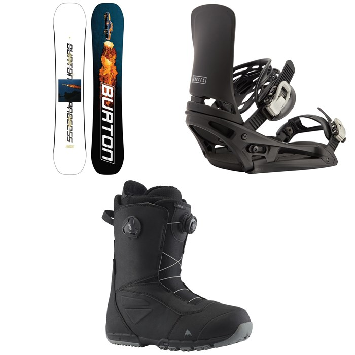 Burton - Process Flying V Snowboard + Cartel EST Snowboard Bindings + Ruler Boa Snowboard Boots 2022