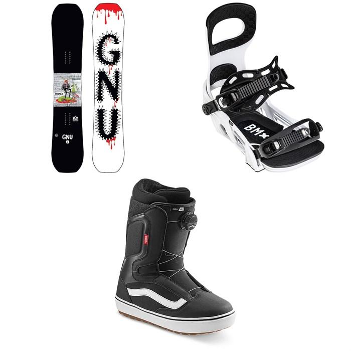 GNU - Money C2E Snowboard + Bent Metal Bolt Snowboard Bindings + Vans Aura OG Snowboard Boots 2022