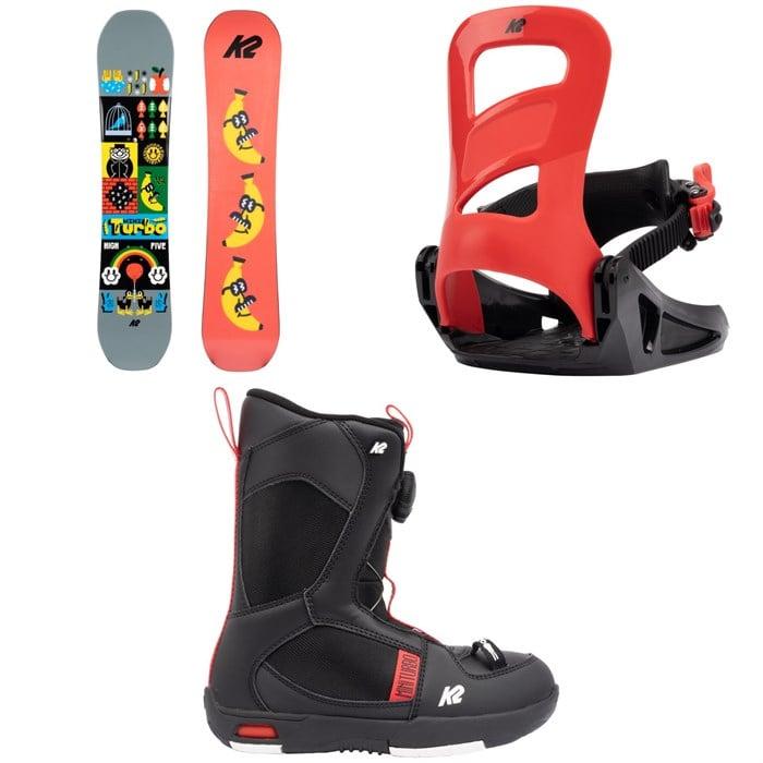 K2 - Mini Turbo Snowboard + Mini Turbo Snowboard Bindings + Mini Turbo Snowboard Boots - Kids' 2022