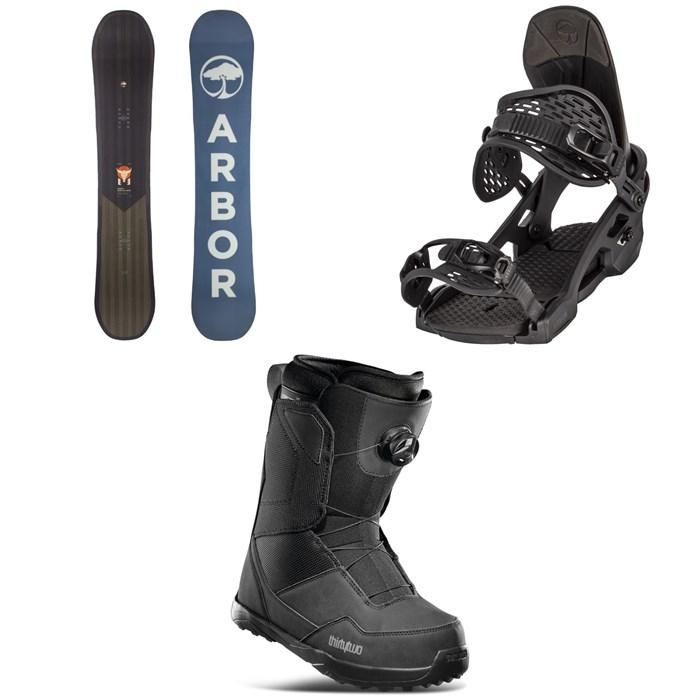 Arbor - Foundation Snowboard + Spruce Snowboard Bindings + thirtytwo Shifty Boa Snowboard Boots 2022