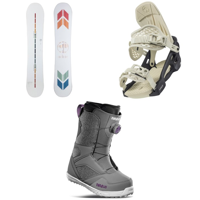 Arbor - Poparazzi Camber Snowboard + Acacia Snowboard Bindings + thirtytwo STW Boa Snowboard Boots - Women's 2022