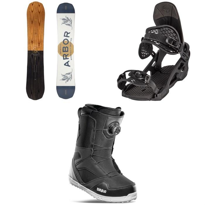Arbor - Element Rocker Snowboard + Spruce Snowboard Bindings + thirtytwo STW Boa Snowboard Boots 2022