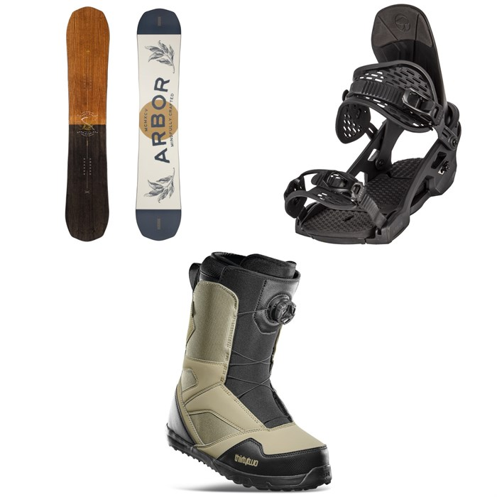 Arbor - Element Camber Snowboard + Spruce Snowboard Bindings + thirtytwo STW Boa Snowboard Boots 2022