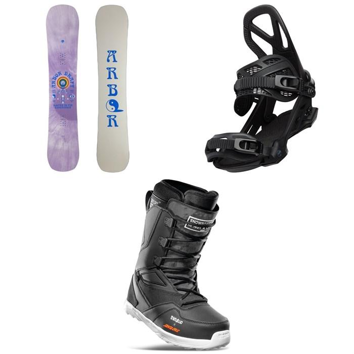 Arbor - Draft Rocker Snowboard + Hemlock Snowboard Bindings + thirtytwo Light x Santa Cruz Snowboard Boots 2022