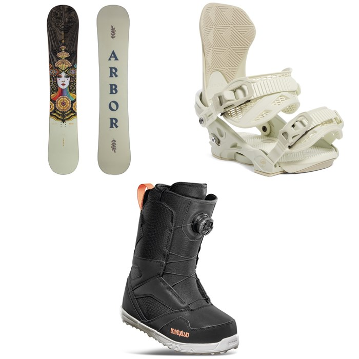 Arbor - Cadence Rocker Snowboard + Sequoia MFR Snowboard Bindings + thirtytwo STW Boa Snowboard Boots - Women's 2022
