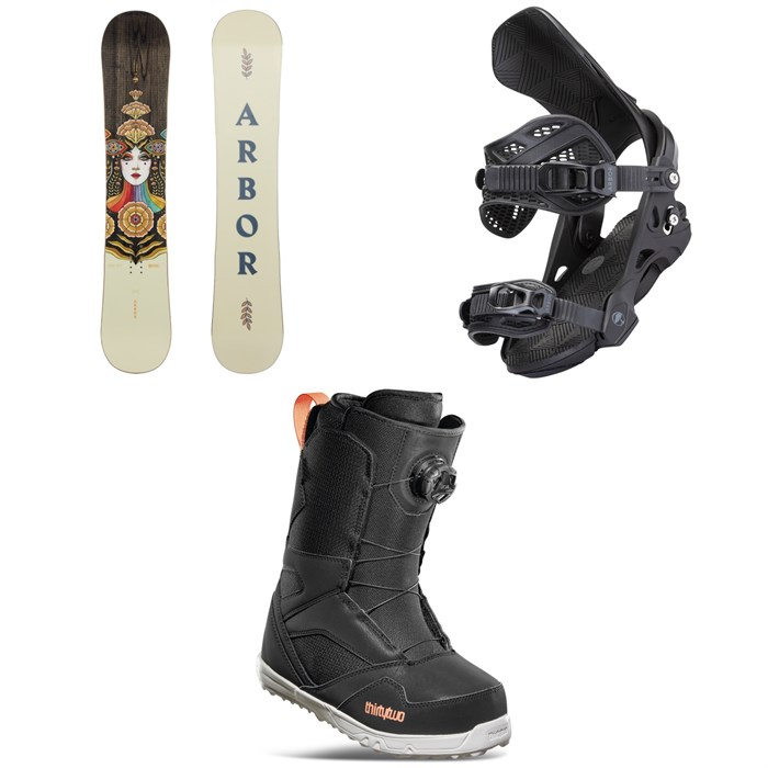Arbor - Cadence Camber Snowboard + Sequoia Snowboard Bindings + thirtytwo STW Boa Snowboard Boots - Women's 2022
