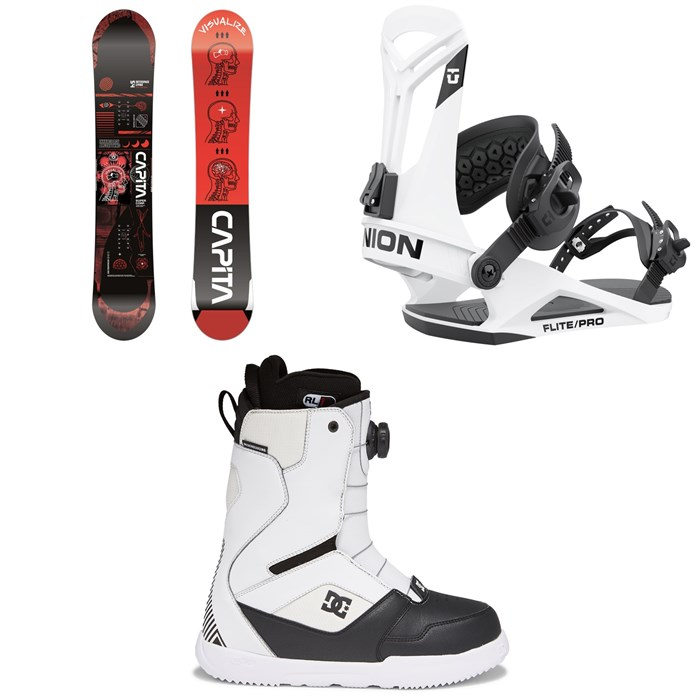 CAPiTA - Outerspace Living Snowboard + Union Flite Pro Snowboard Bindings + DC Scout Boa Snowboard Boots 2022