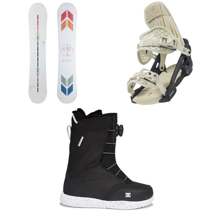 Arbor - Poparazzi Rocker Snowboard + Acacia Snowboard Bindings + DC Search Boa Snowboard Boots - Women's 2022