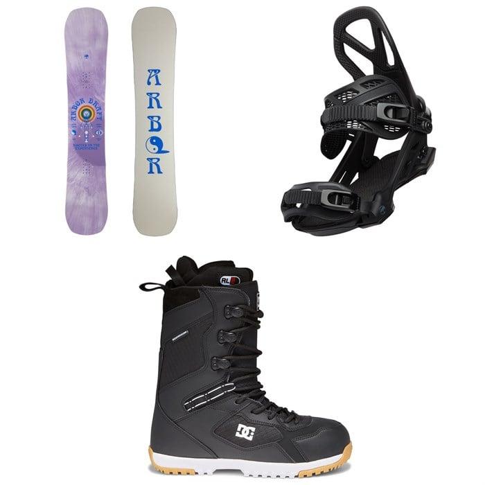 Arbor - Draft Camber Snowboard + Hemlock Snowboard Bindings + DC Mutiny Snowboard Boots 2022