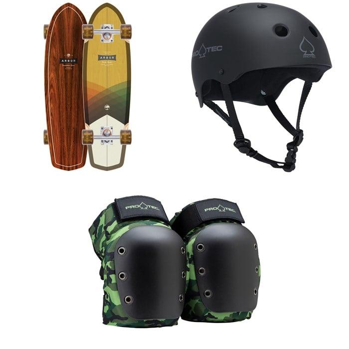 Arbor - Pocket Rocket Foundation Cruiser Skateboard Complete + Pro-Tec The Classic Certified EPS Skateboard Helmet + Street Open Back Skateboard Knee Pads