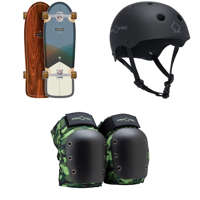 Arbor - Oso Foundation Cruiser Skateboard Complete + Pro-Tec The Classic Certified EPS Skateboard Helmet + Street Open Back Skateboard Knee Pads