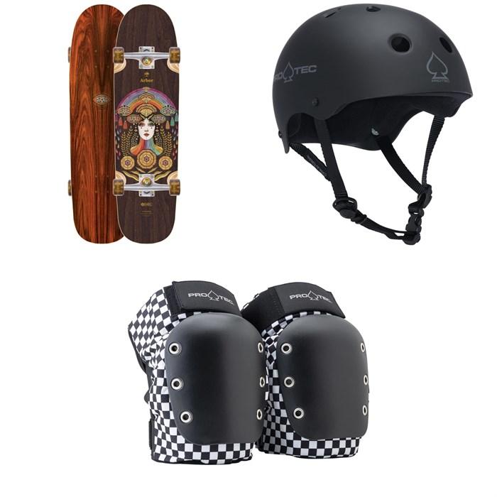 Arbor - Cucharon Solstace B4BC Cruiser Complete - Women's + Pro-Tec The Classic Certified EPS Skateboard Helmet + Pro-Tec Street Open Back Skateboard Knee Pads