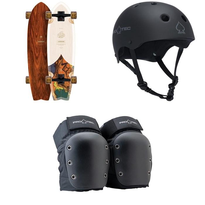 Arbor - Sizzler Groundswell Cruiser Complete + Pro-Tec The Classic Certified EPS Skateboard Helmet + Street Open Back Skateboard Knee Pads