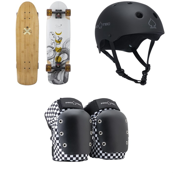Arbor - Pilsner Bamboo Cruiser Skateboard Complete + Pro-Tec The Classic Certified EPS Skateboard Helmet + Street Open Back Skateboard Knee Pads