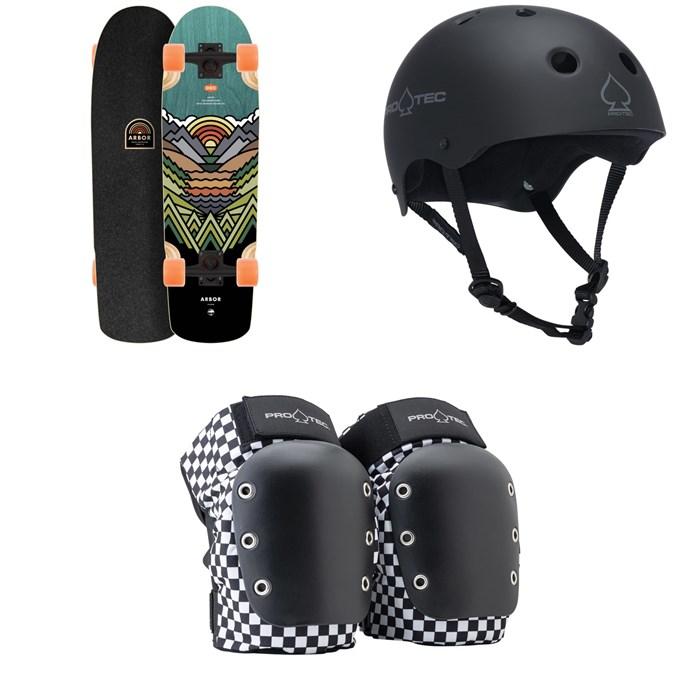 Arbor - Pilsner Artist Draplin Cruiser Complete + Pro-Tec The Classic Certified EPS Skateboard Helmet + Street Open Back Skateboard Knee Pads