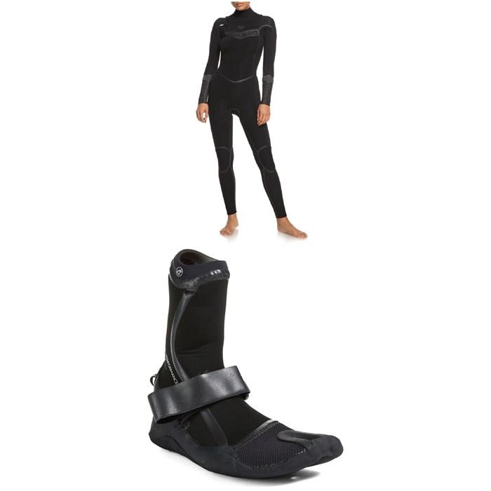 Roxy - 3/2mm Syncro+ Chest Zip LFS Wetsuit + 3mm Performance Split Toe Wetsuit Boots - Women's