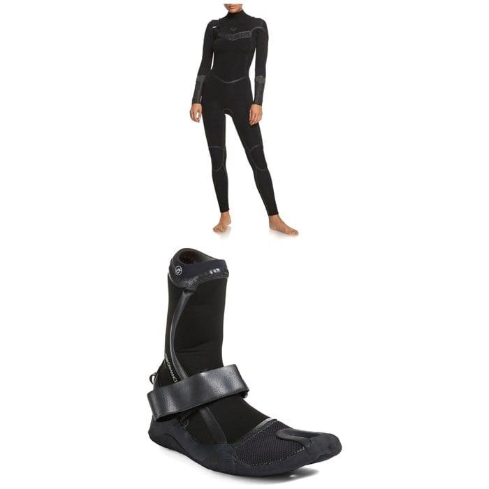 Roxy - 4/3 Syncro+ Chest Zip LFS Wetsuit + 3mm Performance Split Toe Wetsuit Boots - Women's