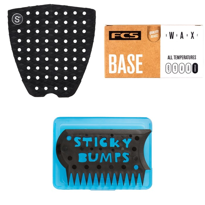 Sympl Supply Co - Nº1 Traction Pad + FCS Surf Base Wax + Sticky Bumps Wax Comb & Box