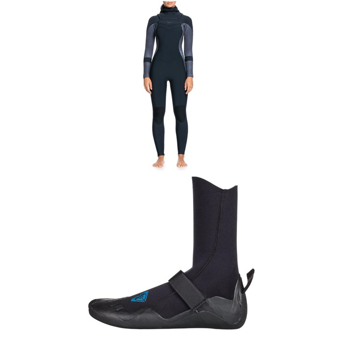 Roxy - 5/4/3 Syncro Chest Zip GBS Hooded Wetsuit + Syncro 5mm Round Toe Wetsuit Boots - Women's
