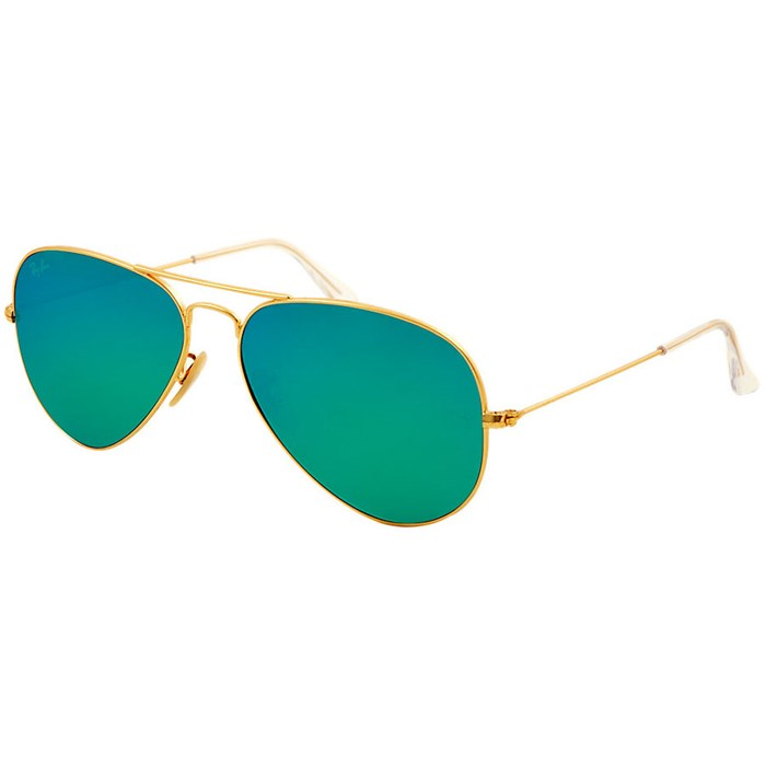 ray ban rb3025 aviator large metal  ray ban rb 3025 aviator large metal 58 sunglasses matte gold crystal green mirror multi green