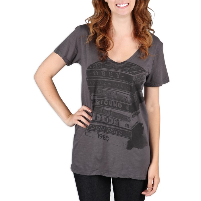 Obey Clothing - Tower Of Tapes V Neck T Shirt - Women's
