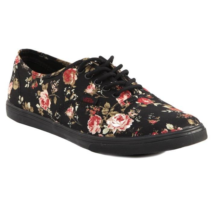 vans floral authentic lo pro in black