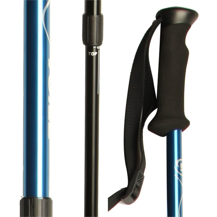 Voile - 3-Part Push Button Adjustable Ski Poles With Scraper 2016