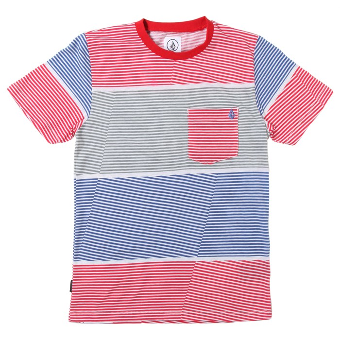 Volcom - 3 Course Stripe Crew T-Shirt (Ages 8-14) - Boy's