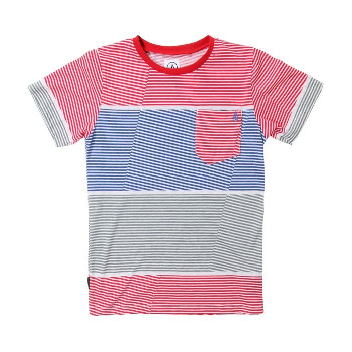 Volcom - 3 Course Stripe Crew T-Shirt (Ages 4-7) - Boy's