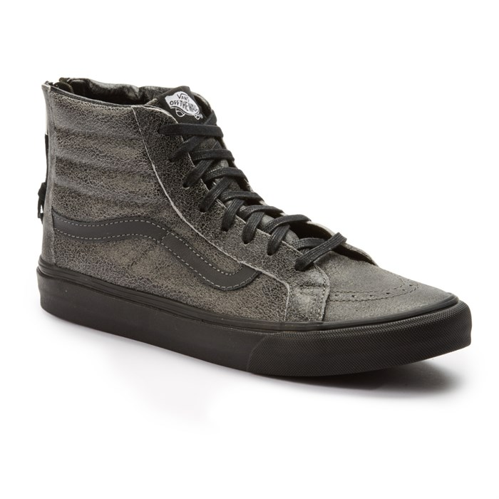 Vans Sk Hi Slim Zip Crackle Suede Shoes Black