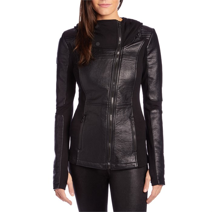 Blanc Noir Asymmetric Hooded Moto Jacket Womens