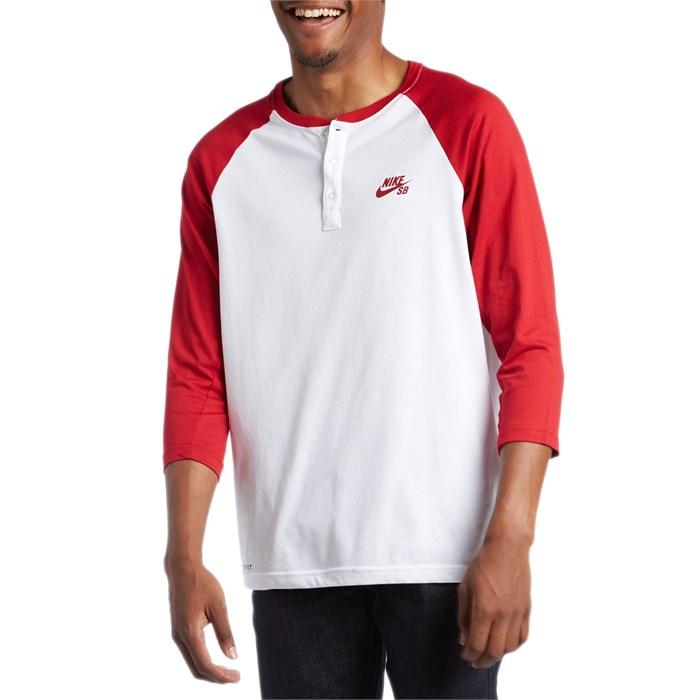 Nike sb 3 4 sleeve henley shirt evo for 3 4 henley shirt