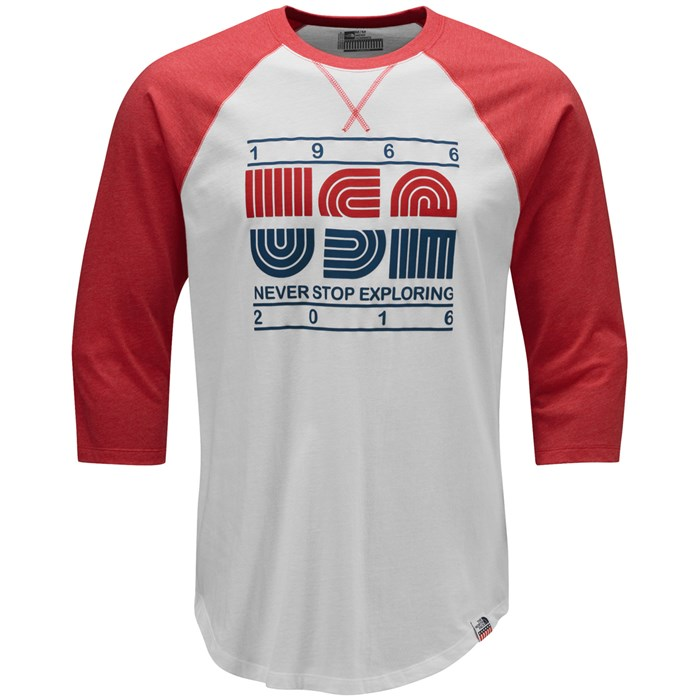 the north face 3 4 sleeve usa baseball t shirt evo outlet