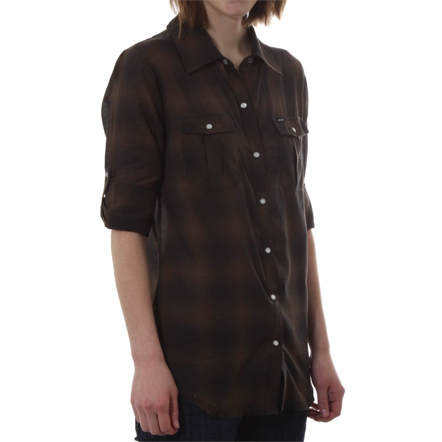 Rvca double steal plaid button down shirt women 39 s evo for Womens patterned button down shirts
