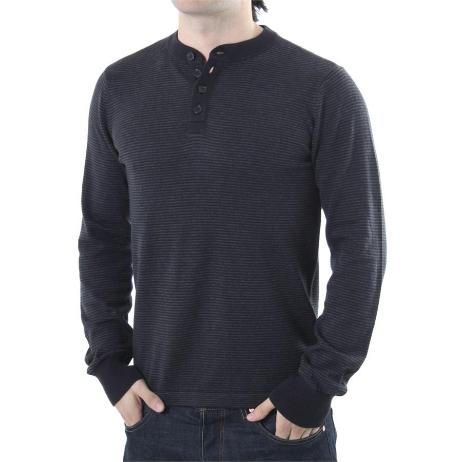 Rvca me long sleeve henley shirt evo outlet for Black long sleeve henley shirt