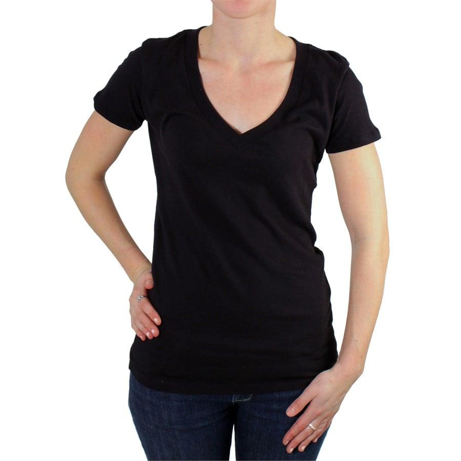 Womens Plain Black V Neck T Shirts