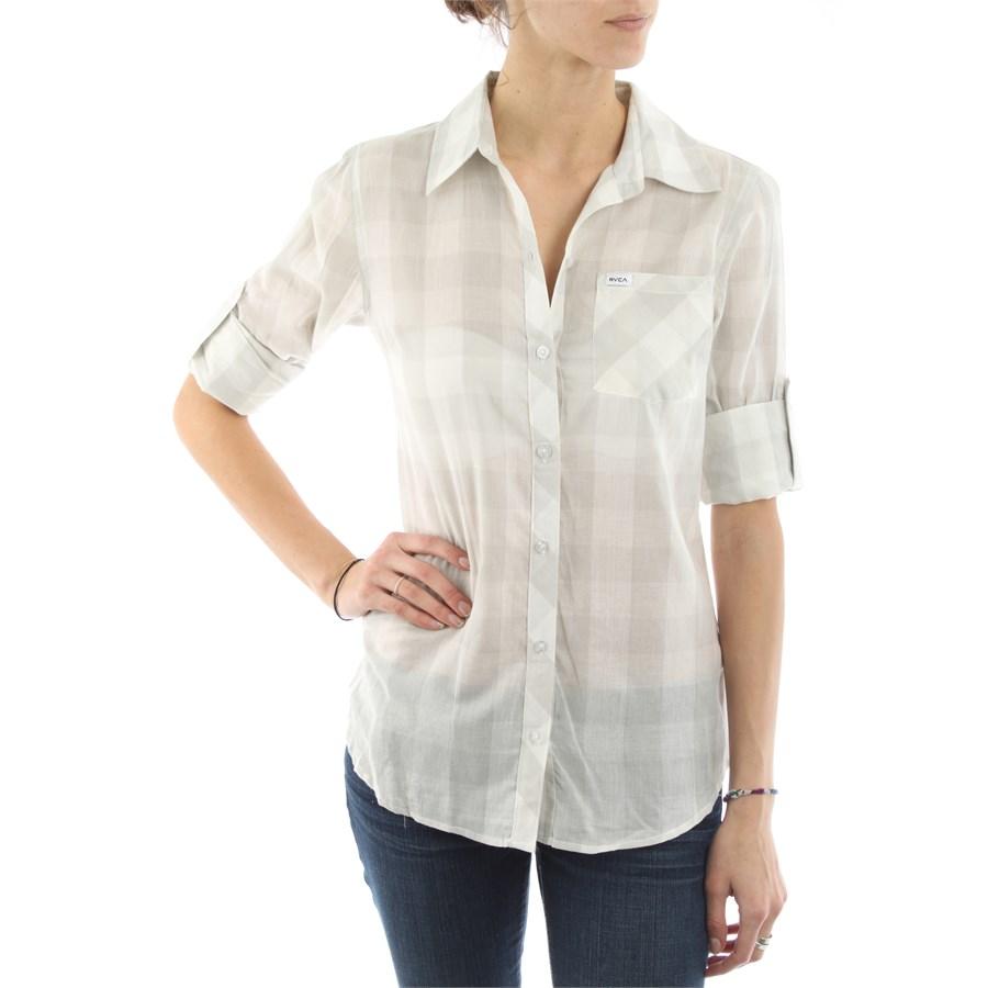 Rvca zima button down shirt women 39 s evo outlet for Womens tall button down shirts