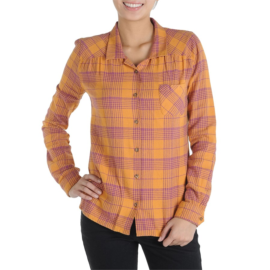 Volcom plaid it out button down shirt women 39 s evo outlet for Plaid button down shirts for women