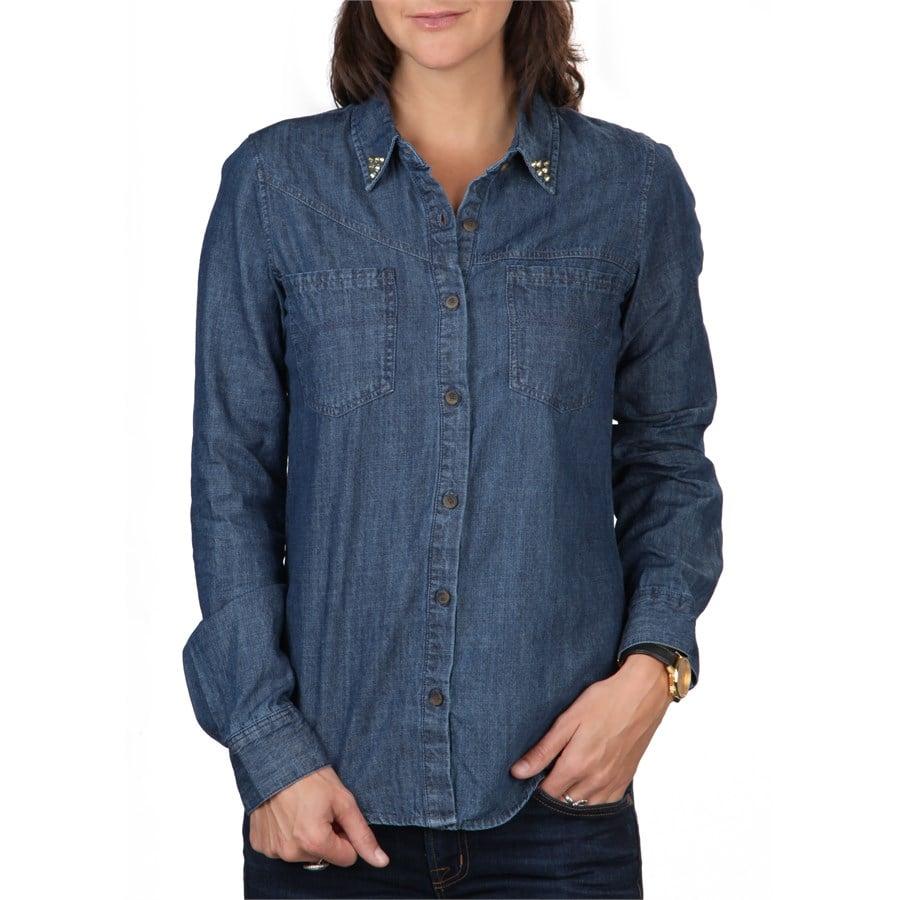 Volcom dip stix long sleeve button down shirt women 39 s for Womens tall button down shirts