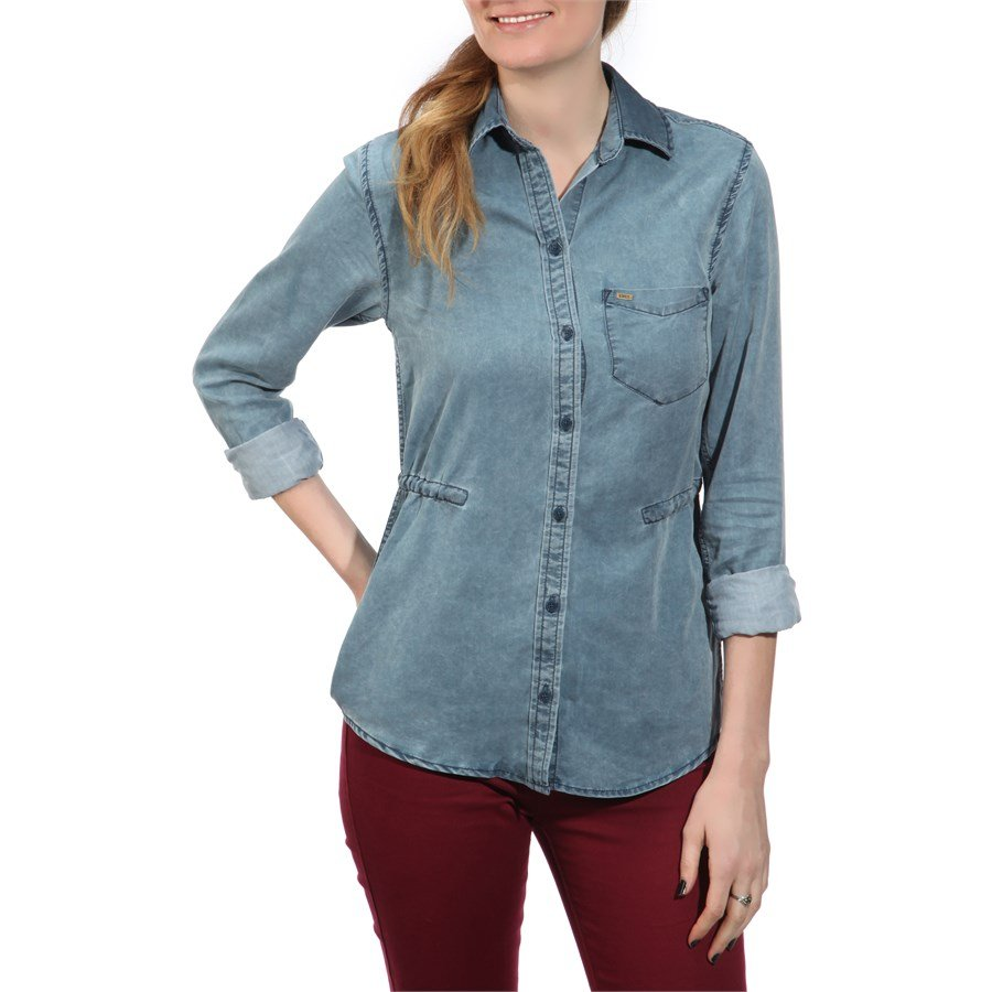 obey clothing rayon st germaine button down shirt women
