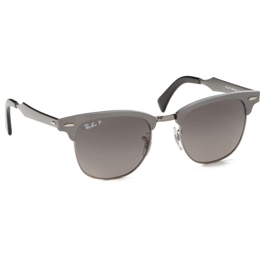 ray ban clubmaster sunglasses aluminum  ray ban rb 3507 aluminum clubmaster sunglasses gunmetal crystal polarized dark grey front