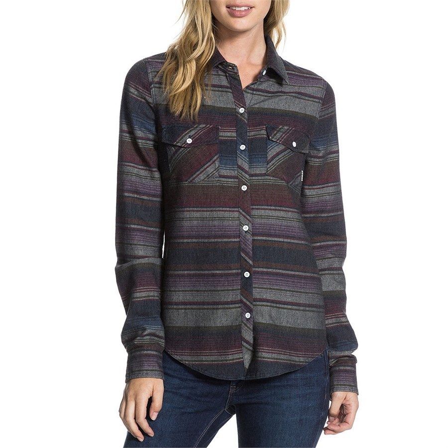 Roxy camp site long sleeve button down shirt women 39 s for Women s long sleeve camp shirts