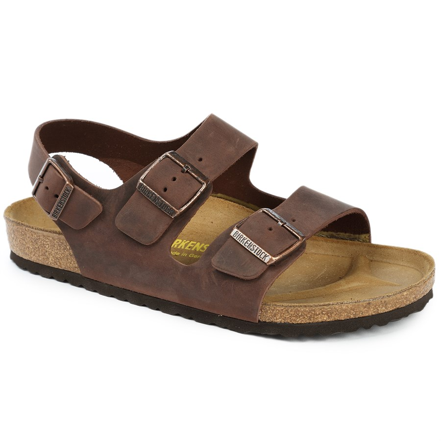 Birkenstock Milano Oiled Leather Soft Footbed Sandals Evo