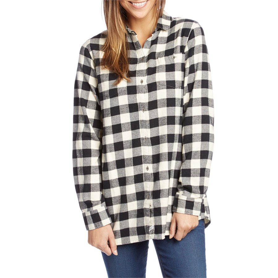 Zoom enlarge size shown s model info for Buffalo check flannel shirt